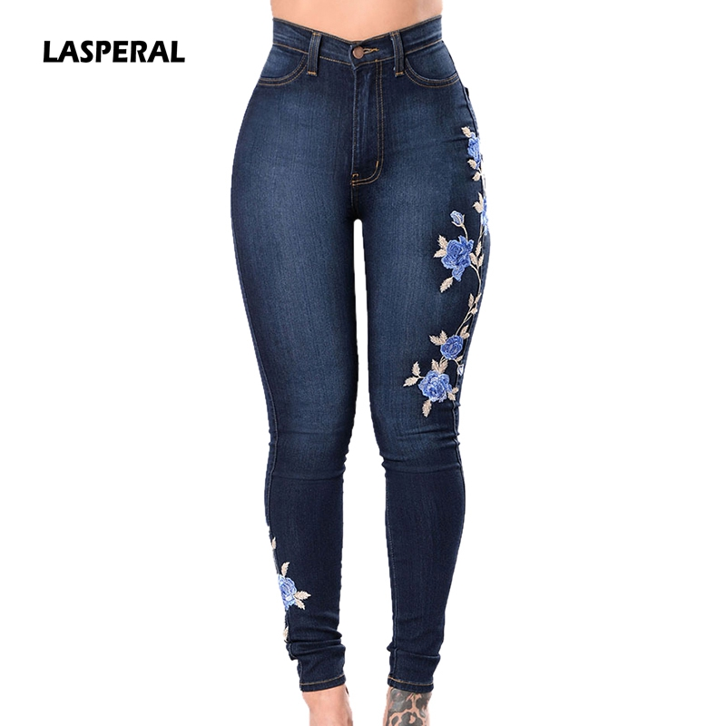 LASPERAL Embroidery Jeans Woman Plus Sizs