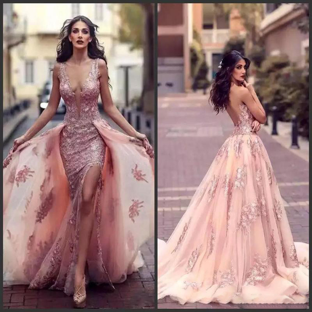 c6879a1430 Sexy Deep V-neck Arabic Mermaid Evening Gowns With Overskirt Lace Appliques Side  Split Backless Prom Gowns Red Carpet Dresses