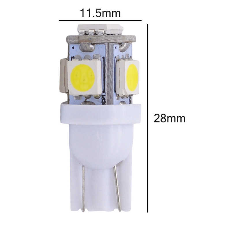 Katur 10pcs T10 W5W LED Bulb 5 SMD LED White Blue Red Yellow Green 194 168 Super Bright wedge Lights bulbs Lamps 12V 5050 SMD