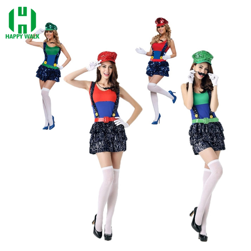 Adult Super Mario Costumes Women Luigi Clothing Sexy Plumber Costume Halloween Super Mario Bros Cosplay Costumes For Women