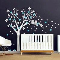 מוצר פופולרי 2016 ינשופים לבן ענק עץ ויניל מדבקות בייבי משתלת אמנות קיר חדר שינה עיצוב חדש 3D וול מדבקת בית תפאורה