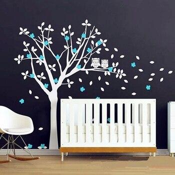 2016 популярный продукт Совы и огромный белый дерево виниловые наклейки Детские Спальня стены Книги по искусству Новый Дизайн 3D стены Стикер...