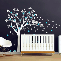 2016 Popular Product Owls And Huge White Tree Vinyl Decals Baby Nursery Bedroom Wall Art New Design 3D Wall Sticker Home Decor