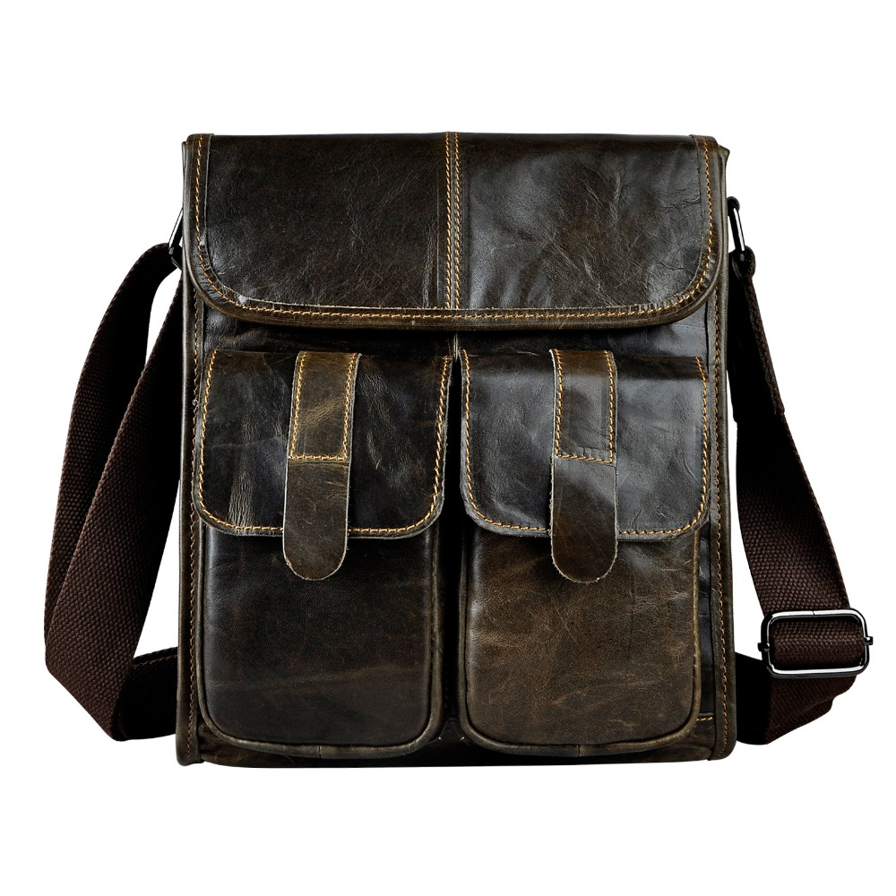 New Fashion Real Leather Multifunction Male Casual messenger bag Satchel cowhide 10 Cross-body Shoulder bag For Men 009 new trendy men canvas satchel casual cross body handbag messenger shoulder bag