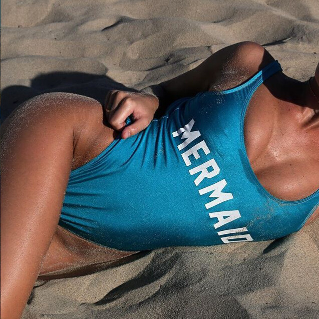 mermaid Bodysuit  Women Sexy high waist Bathing Suitsuits One-Piece Beachwear Jumpsuit Female Romper Top