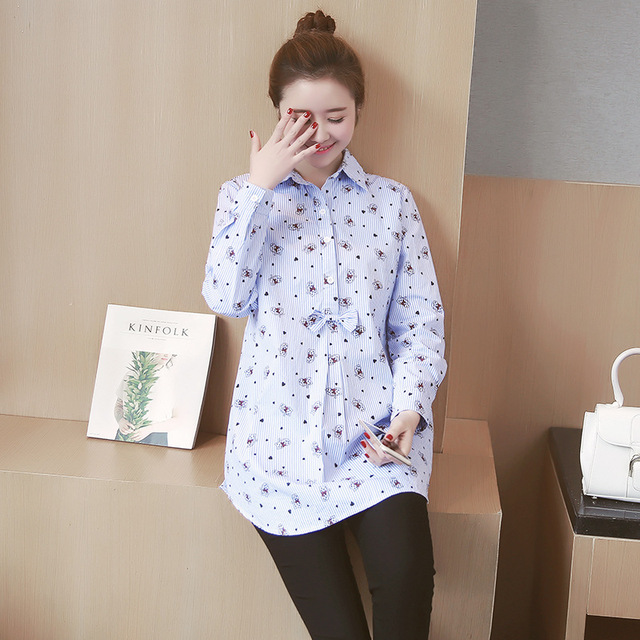 Pregnant Spring Maternity Long-Sleeved Shirt Maternity pregnant women Shirt sleeved cotton shirt Lapel cartoon 9352yg