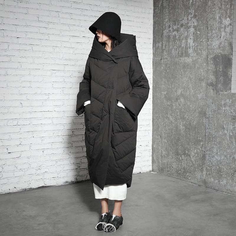 Original Design 2017 new arrivals casual hooded x long 90 white duck down jacket women winter coat
