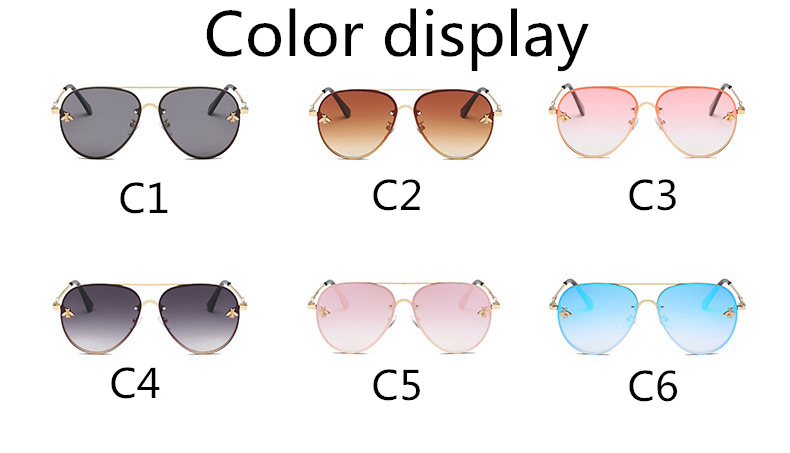 ASOUZ 2019 new fashion ladies sunglasses UV400 metal oval frame bee sunglasses classic brand design sports driving sunglasses (11)