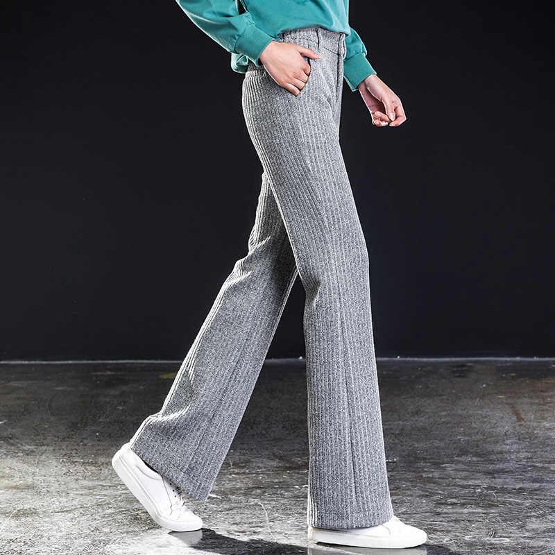 Shangege_New styl sprężyna wysokiej jakości zima kobiety knitting wełniane spodnie szerokie nogawki moda na co dzień pełne długość Loosebest