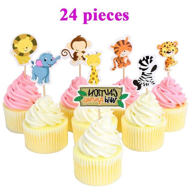 Décoration de gâteaux danimaux pour Safari | 24 pièces, décorations de fête Jungle pour anniversaire denfants, fournitures pour fête prénatale pour bébés enfants garçons et filles