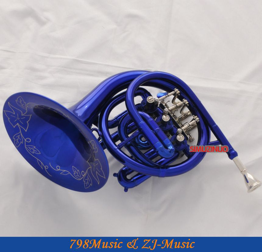Newest Beautiful Blue Mini French Horn Engraving Bell Bb Pocket horn With Case