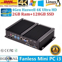 DHL Free Shipping Fanless Nettop Mini Host Industrial Computator 2GB DDR3L 128GB SSD Haswell Processor Intel Core i3 4010U
