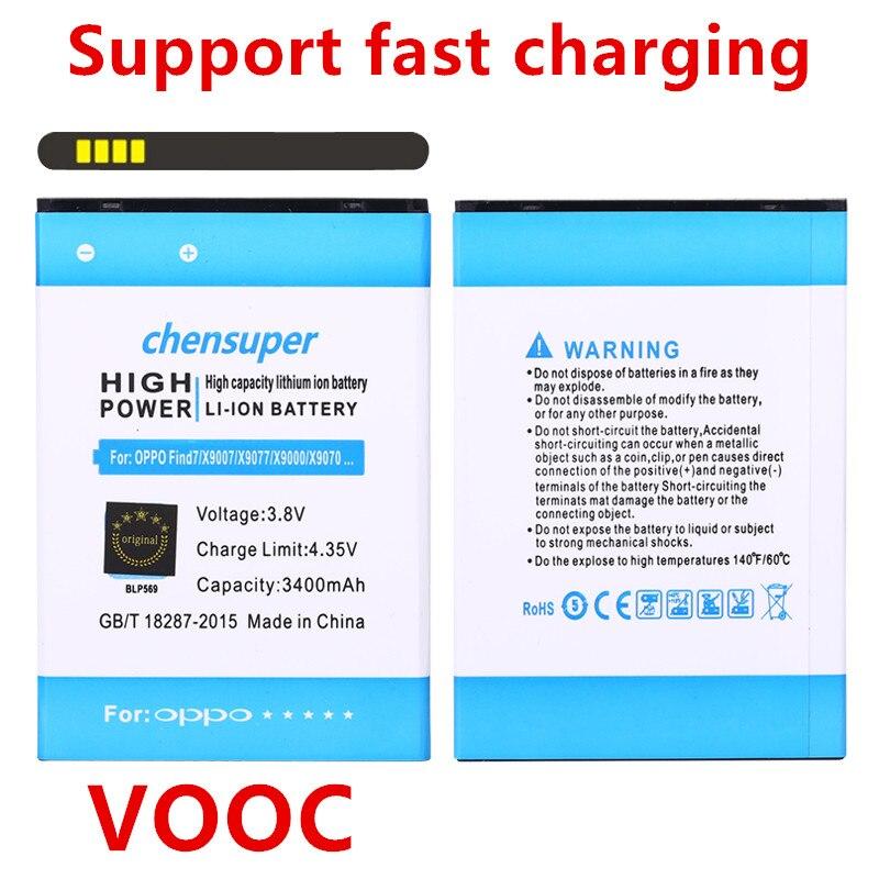 VOOC chensuper 3400 mAh BLP569/BLP575 Batterie für OPPO Finden 7 Find 7a X9000 X9006 LTE X9007 X9076 X9077 handy-akku