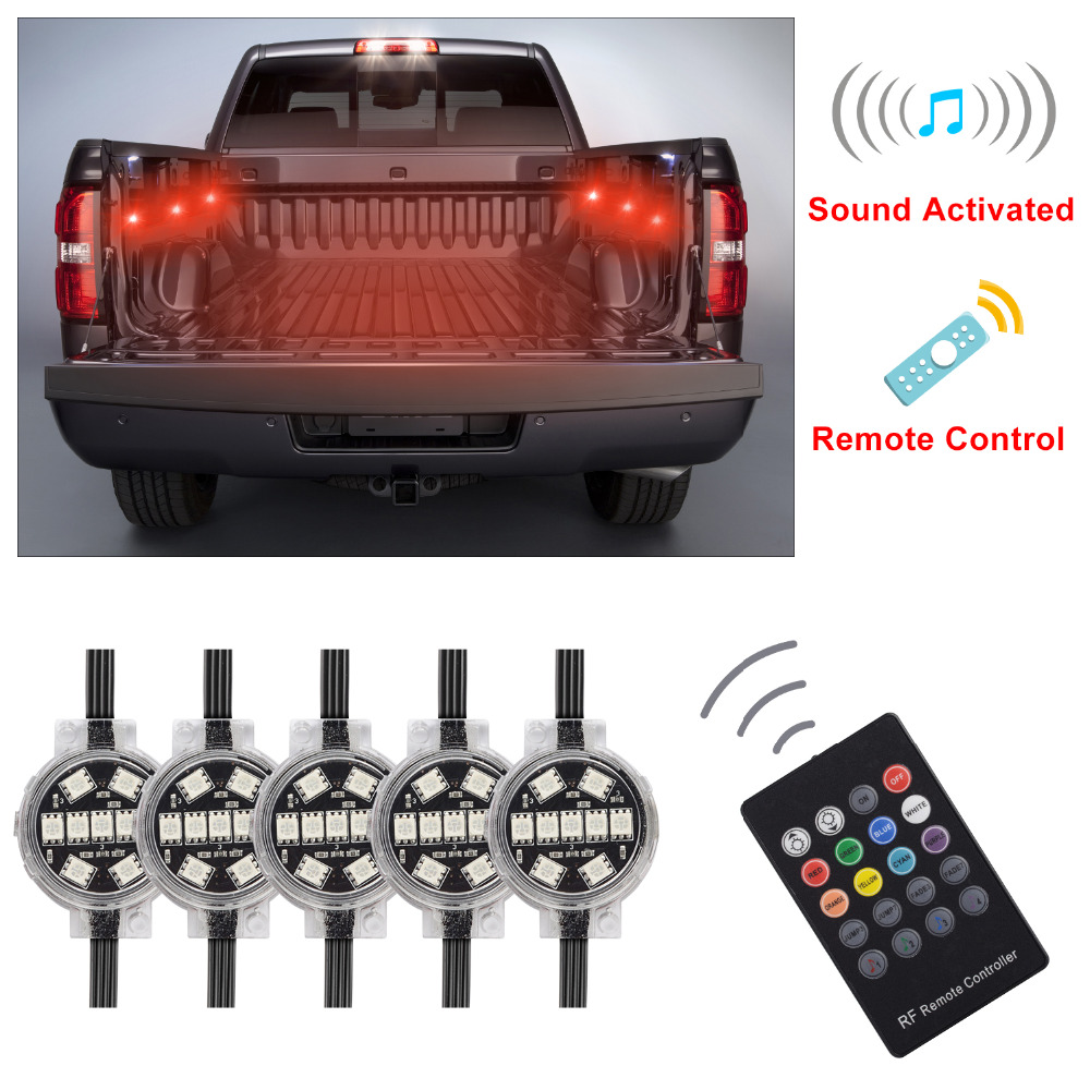 Homeyard LED RGBW Truck Bed Rear Light Kit - Sound Activated Wireless Remote Multi-color Work Glow Neon Rock Lighting (8 Pods)