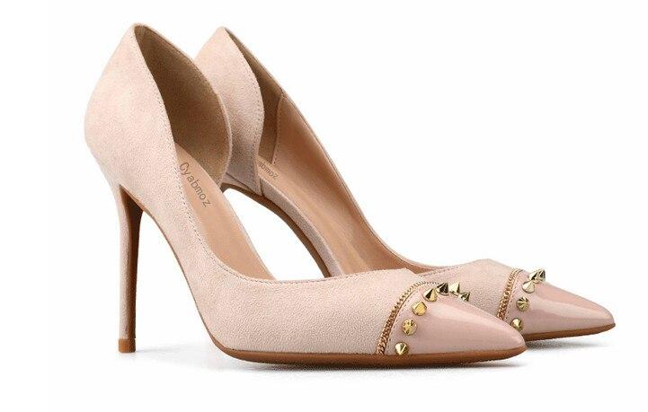 Zapatos Sexy Tenis Slip Heels Femmes 8cm Rivet Dames beige Heels 10cm Chaussures Haute Femme Mujer Pompes Talons Partie Sur Valentine black Heels Cyabmoz Black Mince 6cm Feminino a65aq