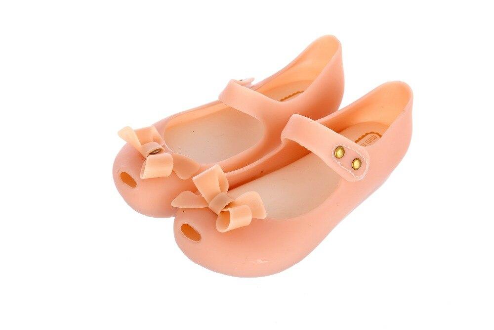 Mini Melissa Cute Girl Bow Jelly Sandals Girl Shoes Bow Shoes Breathable Children Mini Melissa Sandals Princess Shoes 14-17cm
