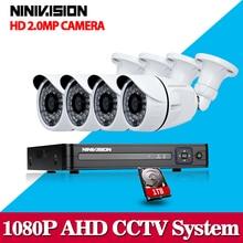 4CH 1080P AHD CCTV DVR System 4PCS CCTV Cameras 2.0 Megapixels Enhanced IR Security Camera System with 1TB HDD 1080p camera ahd