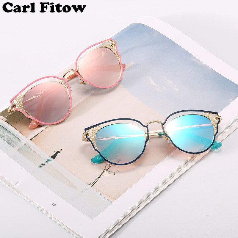 0de5d8e91f15b Novas Mulheres Óculos de Sol Da Moda de Metal Carving Pattern Cat Eye Óculos  de Sol