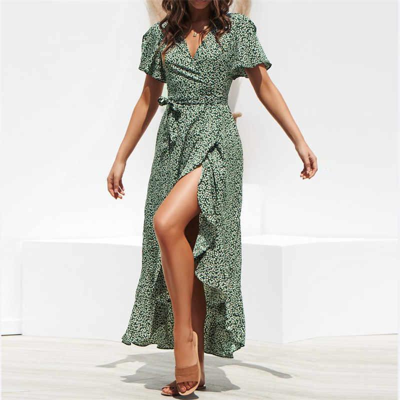Новое летнее пляжное макси-платье Для женщин Цветочный принт в стиле «Бохо длинное шифоновое платье с рюшами Обёрточная бумага Повседневное v-образным вырезом Разделение пикантные вечерние платье халат