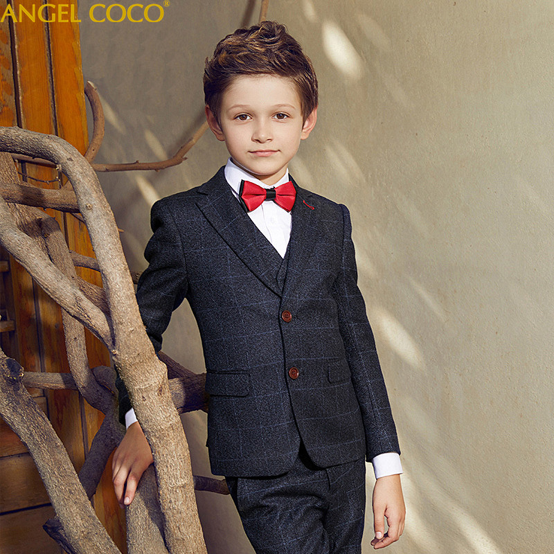 Navy Blue Suit For Boy Single Breasted Boys Suits For Weddings Costume Enfant Garcon Mariage Boys Blazer Jogging Garcon 5 Pcs single breasted lapel flap pocket business blazer