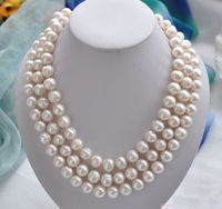 50 inch Huge AAA 11 13MM south sea white baroque pearl necklace 14KGoldClasp