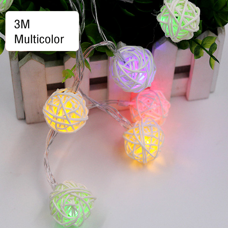 1m 2m 3m Led Battery String Lights Rattan Ball String Lights Holiday Party Indoor Christmas Wedding Curtain Decor Fairy Light Promote The Production Of Body Fluid And Saliva