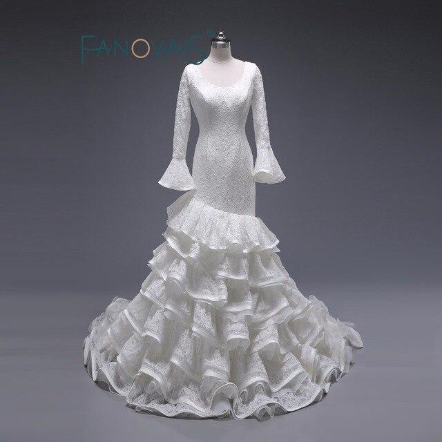 O Neck Full Lace Mermaid Wedding Dresses Ruffles Bottom Flare ...