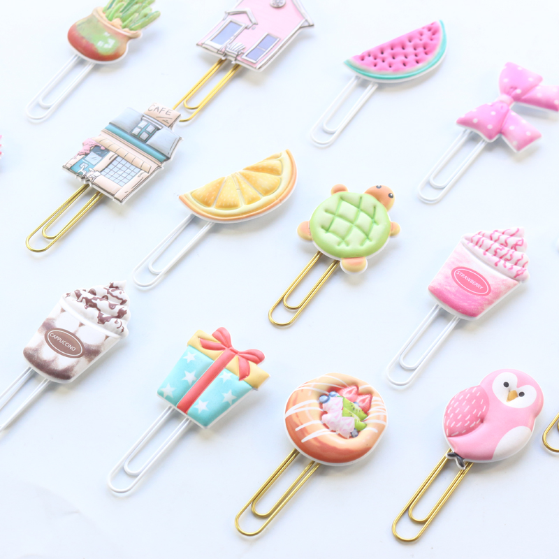 Domikee Creative Handmade Metal Office School Paper Clips Stationery Supplies,fine Cute Memo Organzier Clips/bookmark,2pcs