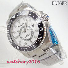 лучшая цена 43mm Bliger white dial ceramic bezel GMT luminous hands sapphire glass Automatic Movement Men's Watch