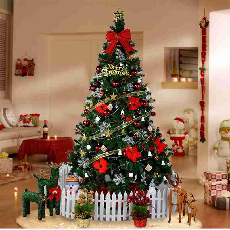 2,1 м Рождественская елка плюс украшения Набор для торговый центр семья окно рождественский вертеп украшения Рождественские подарки