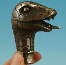 Chinese Old Asian Bronze Handmade Carved Snake Collect Statue Walking Stick Head decoration bronze factory outlets