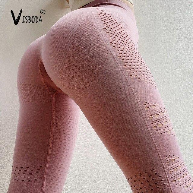 Women Seamless Fitness Leggings High Waist Hollow Out Pink Leggings Fashion Female Elastic Push Up Workout Legging Pants Femme