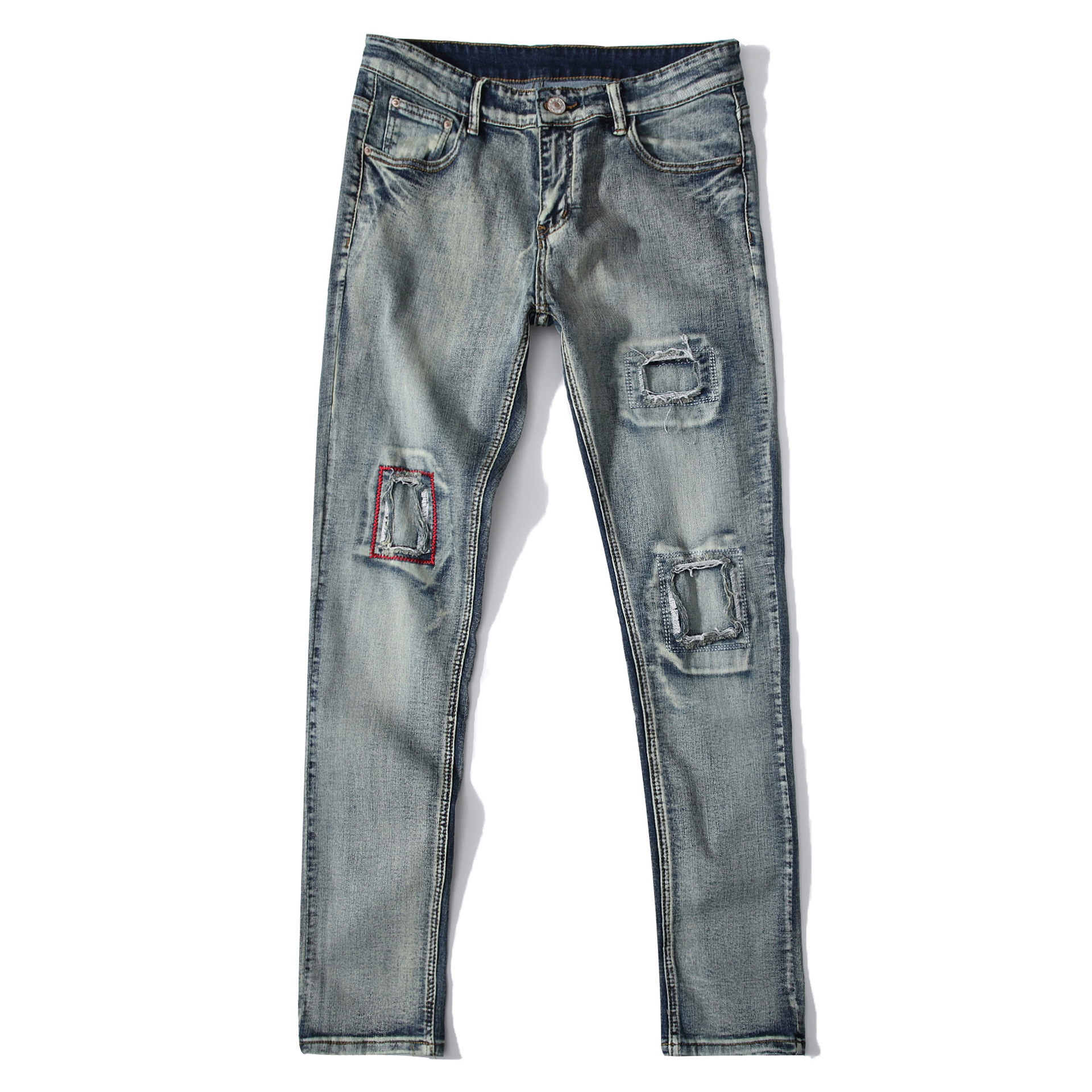 Retro Vintage Men's Holes Embroidery Straight Stretch Jeans Men Slim Ripped Stretch Denim Jeans Homme Pants Casual Jean Trousers women girls casual vintage wash straight leg denim overall suspender jean trousers pants dark blue