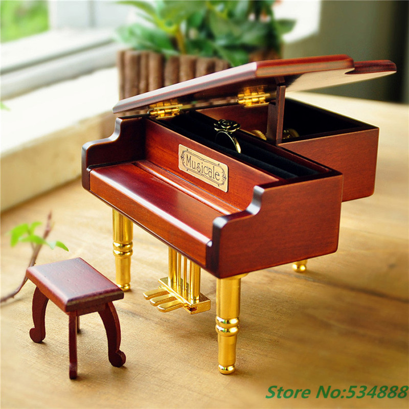 2016 New Home Decoration Creative Gifts Golden piano Mini Music Box for Princess Love Girl Valentines Day Christmas gift
