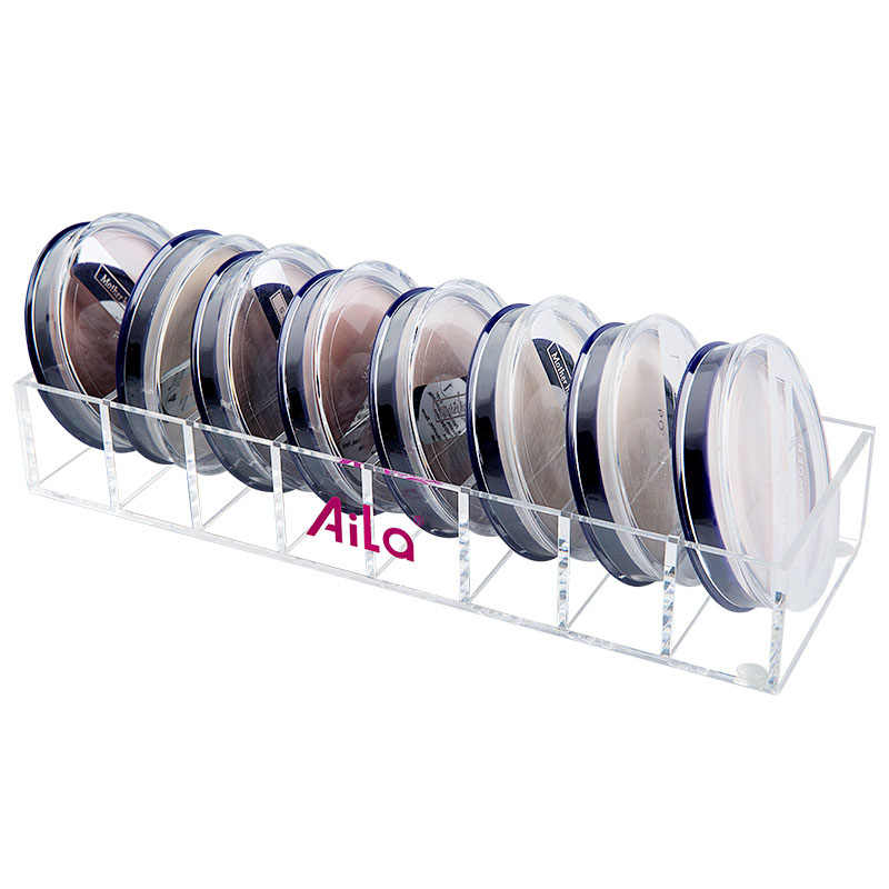 Acrylic Clear and Black Small 8-Compartments Compact Powder Organizer Makeup Organizer Hot Beauty Care Storage Holder