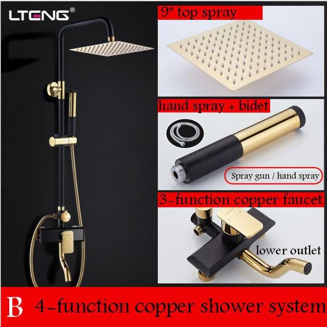 Bathroom black shower set shower set Luxury black mixer with shower  bathtub faucet Sets bathroom Shower faucet  free shipping