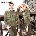 Autumn Men Plaid Fitness T Shirts Long Sleeve Print Turn-Down Collar Army Green Cotton Full Sleeve T-Shirt Men Brand Ms-6061