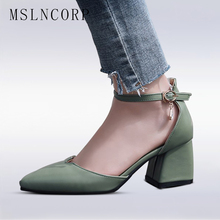 plus size 34-46 New Fashion Women Pumps leather sandals good quality Square High Heel Summer Pointed Toe Shoes Casual Sexy Party