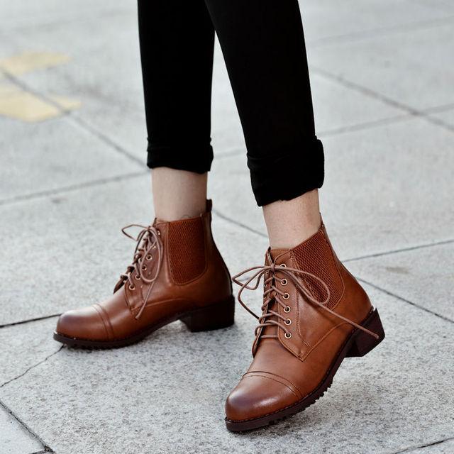 Otoño invierno cuero botas militares para mujeres PU Zapatos de cuero invierno con 3d6fd4