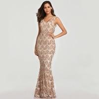 2019 г. пикантные v образным вырезом кисточкой блесток платье Для женщин элегантные длинные вечерние платье