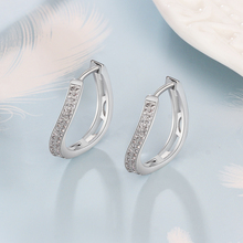 Curved Hoop Earrings with Zircon Silver Color Jewelry