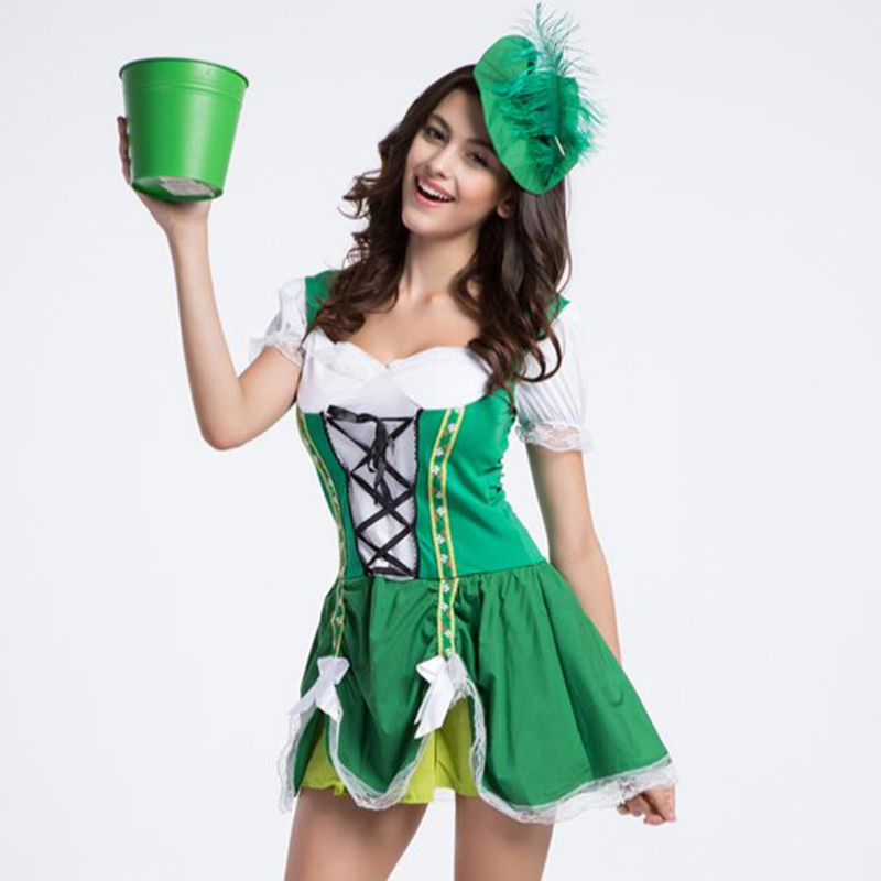 high quality women bavarian costume green oktoberfest costume gothic lolita dress german beer girl for women - Green Halloween Dress