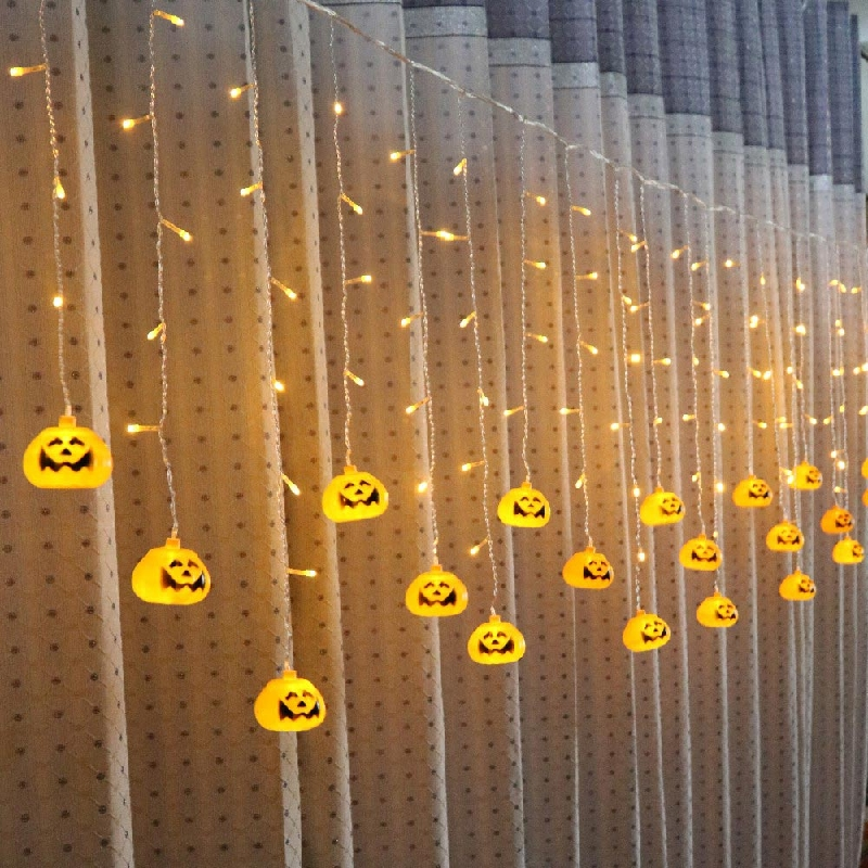 Halloween Decoration Lights 3.5M 5M LED Curtain String Light Pumpkin/Skull/Spider Curtain Backdrops Light for Party Holiday Xmas
