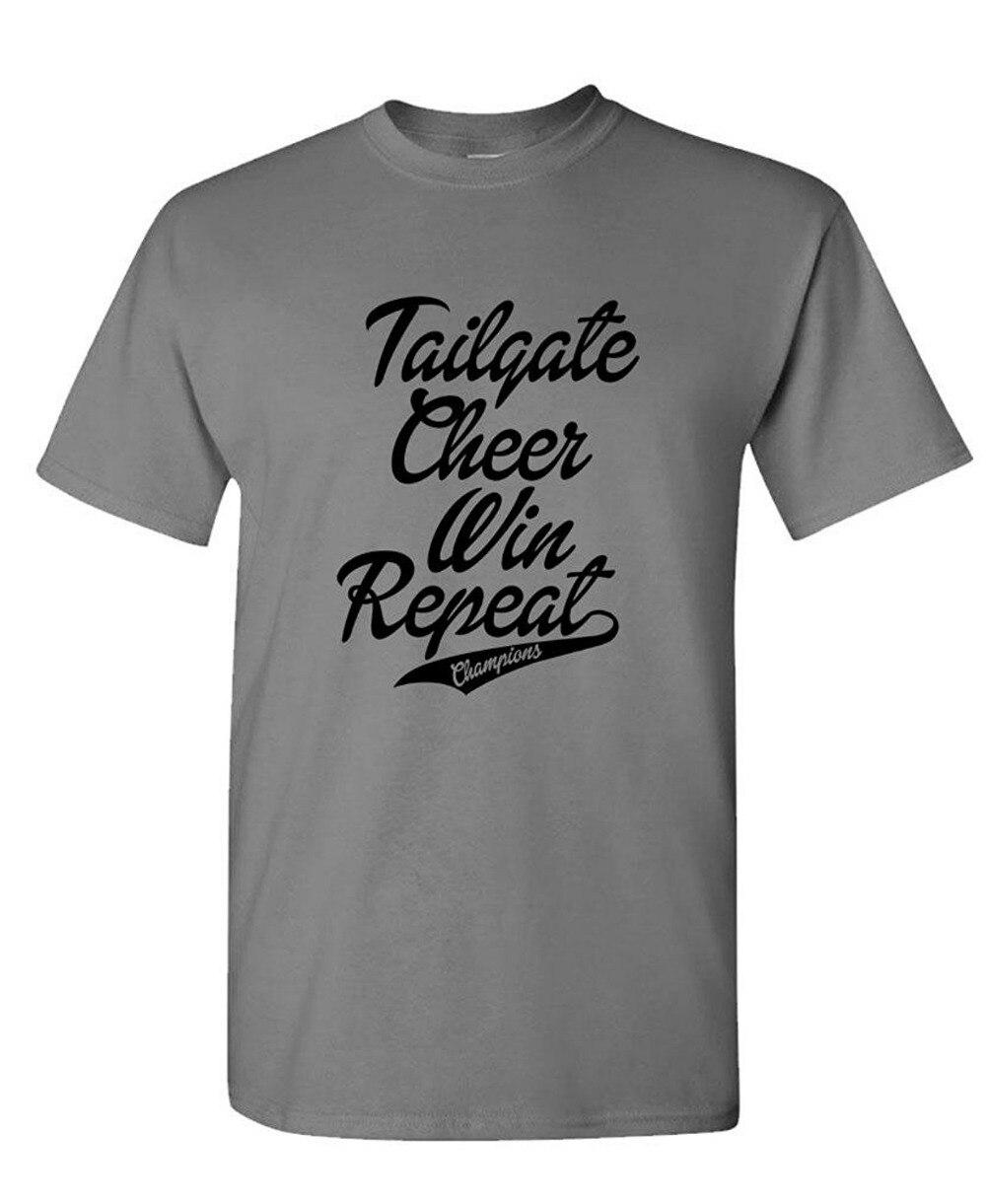 Cotton Cool Design 3D Tee Shirts Premium Crew Neck Short Sleeve Tailgate Cheer Win Repeat Mens Tee Shirts