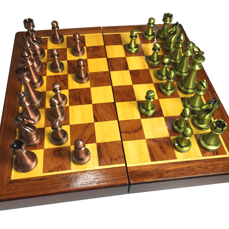 BSTFAMLY metal chess set, portable game of international chess, floding wooden chessboard chess game king height 56mm, LA46 james eade chess for dummies
