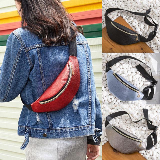 Women Waist Fanny Pack PU Leather Belt Zipper Waist Bag Casual Chest Bag