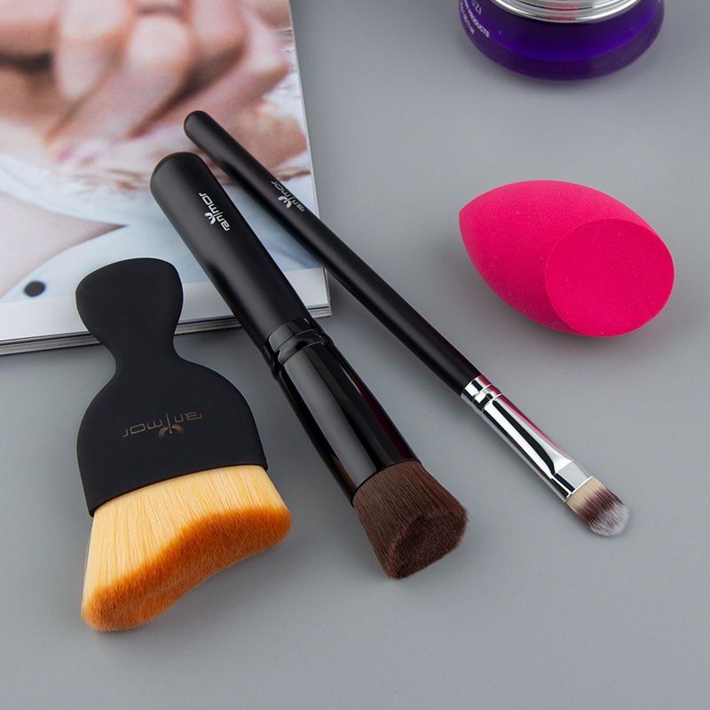 Anmor Makeup Brush Set 4 PCS Travel Size Make Up Tool Contour Foundation Concealer Brushes for Basic Makeup Need pennelli trucco