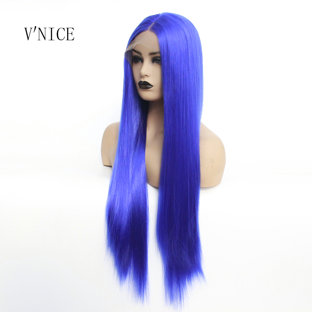 V NICE Realistic Looking Long Straight Blue Color Wig Gluelesss Heat Resistant Fiber Synthetic Lace Front