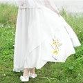 Vintage Withe Print Chiffon Tutu Skirt Summer And Spring New Fashion Women Bohemia Beach Pleated Skirt