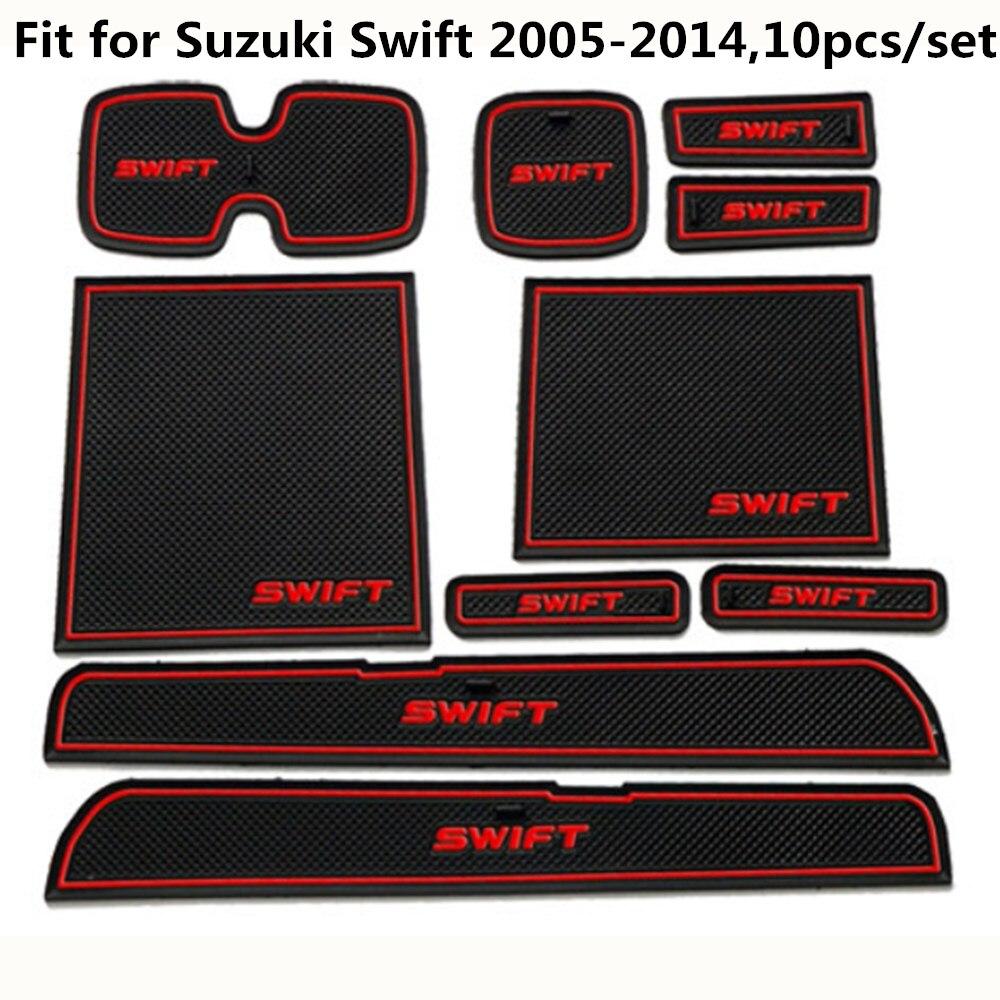 Car Door Mat Fit For Suzuki Swift 2005 To 2014 Anti Slip Car Door Slot Rubber Latex Groove Mats Interior Cup Cushion Car-Styling